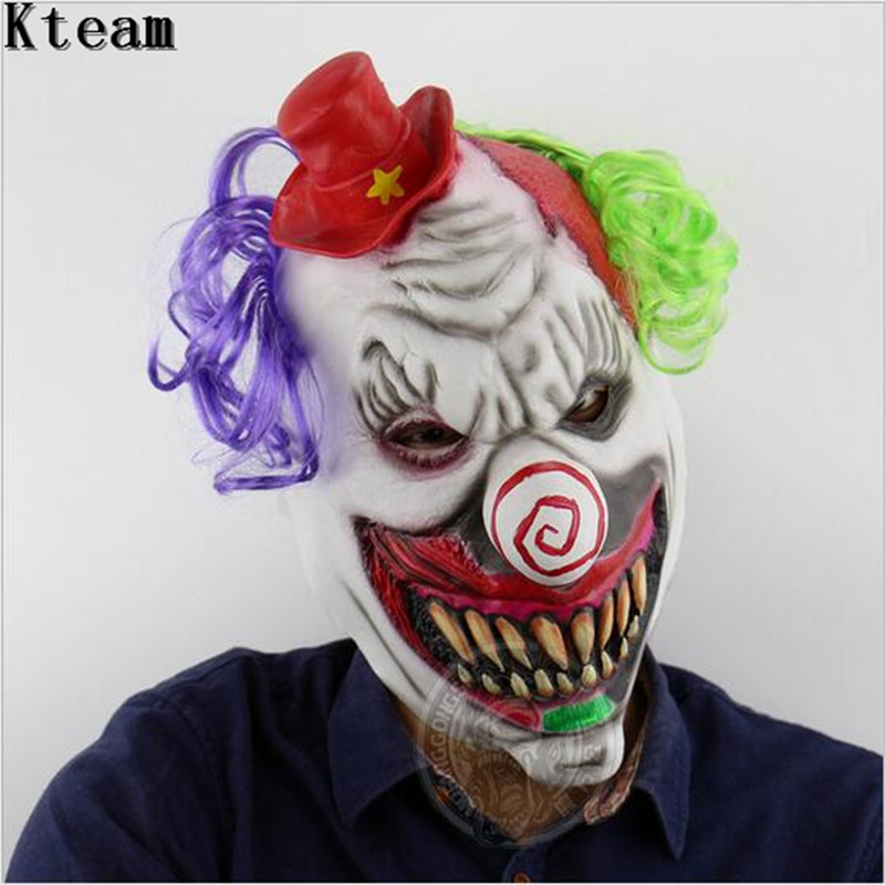 scary clown mask green hair buck teeth full head horror masquerade adult ghost party mask halloween props costumes fancy dress in party masks from home