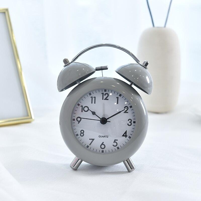 Metal Bell Alarm Clock Student Creative Childrens Bedroom Bedside Mute Sleepy Bell with Night Light