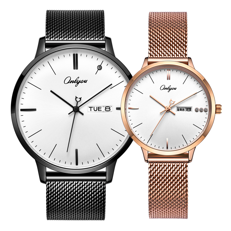 Mens watch ultra-thin fashion Korean woman watch quartz watch waterproof couple watch with steel beltMens watch ultra-thin fashion Korean woman watch quartz watch waterproof couple watch with steel belt