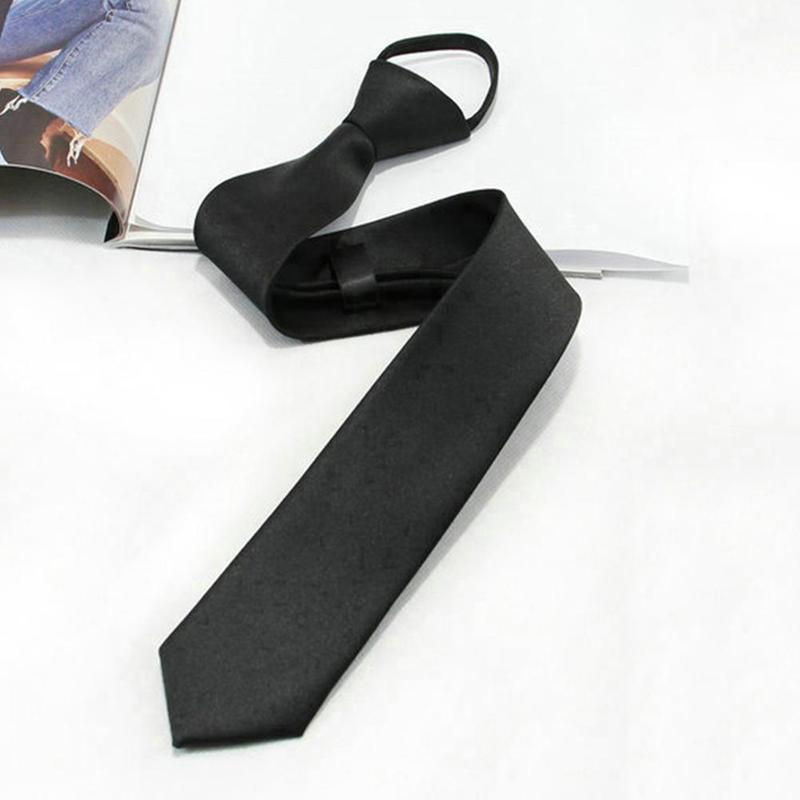 Classic Black Polyester Solid Business Necktie Men's Formal Ties Male Skinny 8CM Casual Neck Tie With Zipper Shirt Accessories