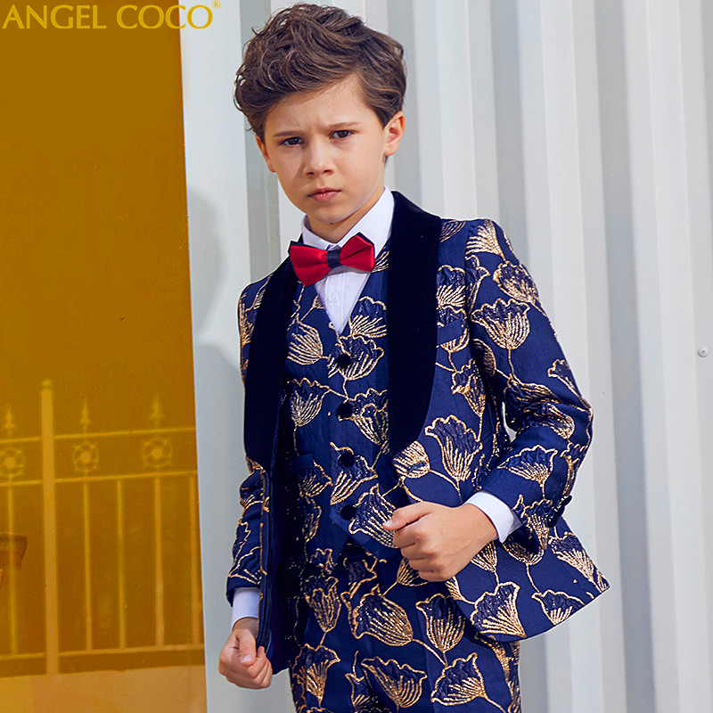 High Quality Children'S Suit Male 5 Piece Print Spring Autumn Piano Costumes Catwalk Show Boys Suits For Weddings Boys Prom Suit elk print pattern boys clothing blazer catwalk children s piano costumes hosted clothes thick winter boys suits for weddings set