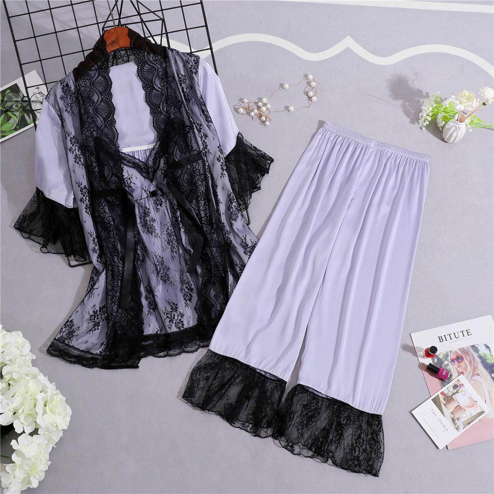Women Pajamas 3 Pieces Sets Pyjama Summer Satin Sleepwear Faux Silk HomeWear Sleep Lounge Pyjamas For Women