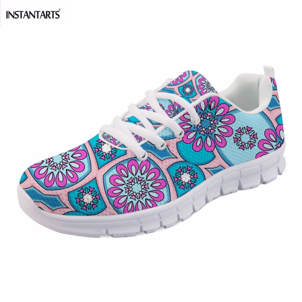 INSTANTARTS Fashion Brand Woman's Summer Flat Shoes Indian Mandala Floral Print Girl Lace Up Sneaker Casual Lightweight Footwear поло print bar buddha mandala