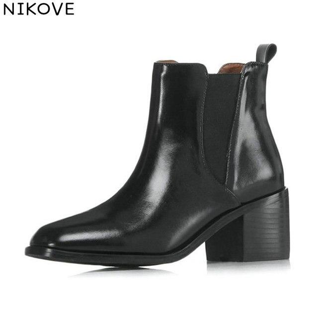 756ffad8 NIKOVE 2019 mujeres botas cuadradas tacones altos Slip on Square Toe  tobillo otoño Zapatos estilo occidental señoras tamaño 34 42