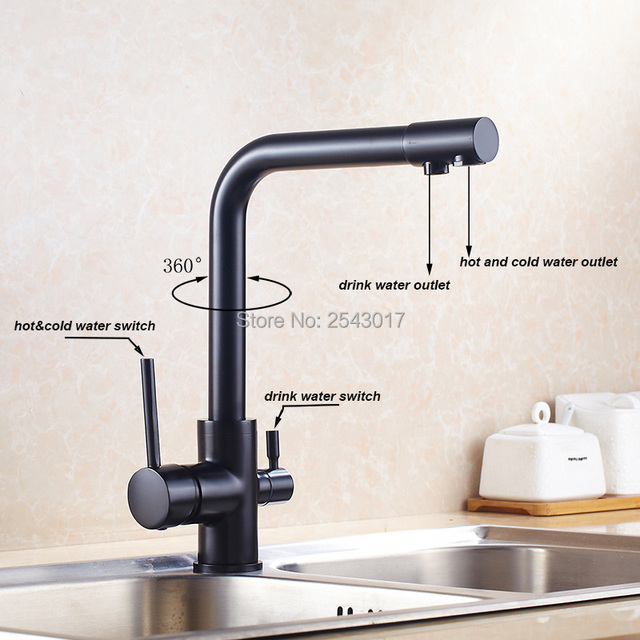 Wholesale Black Kitchen Flexible Faucet Drinking Water Faucet Swivel ...