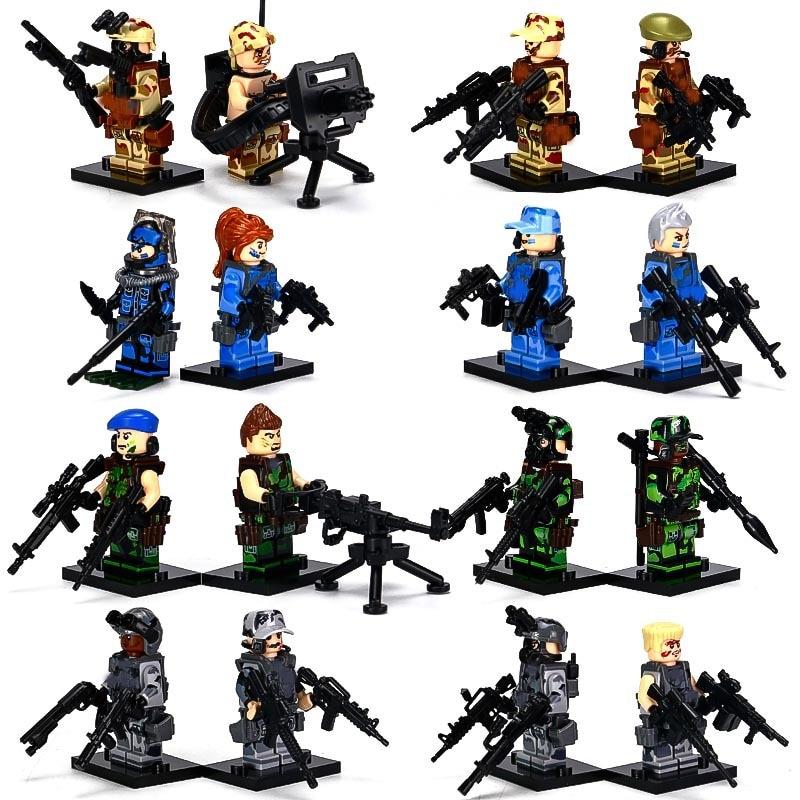 Military CS Commando Soldiers LegoINGlys Action Figures Swat Team Guns Weapon City Army Sets WW2 Blocks Toys World War II guerre moderne lego