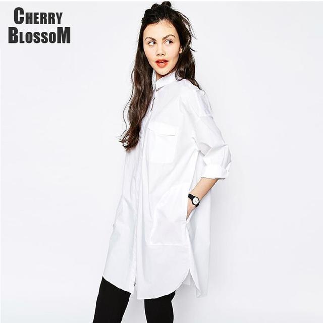 cd087517b Camisa blanca dress mujeres novio estilo de manga larga vestidos sueltos  vestidos casuales para mujeres sexy