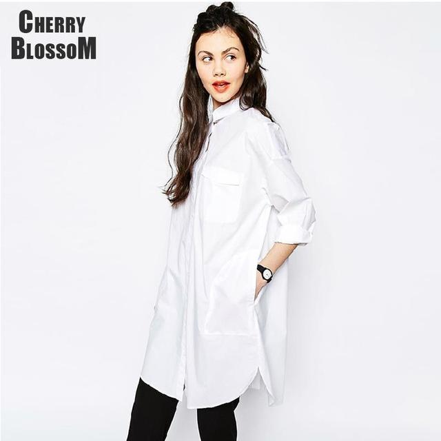 bc0bcbbe9bb White Shirt Dress Women Boyfriend Style Long Sleeve Dresses Loose Casual  Dresses For Women Sexy Loose