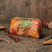 2019 Handmade Women Wristlet Wallets Genuine Leather Coin Purse Embossed Floral Long Wallet Card Holder Clutch Phone Bags genuine leather new fashion women coin purse long clutch bags wallets wristlet leather zipper change cowhide handbag candy color