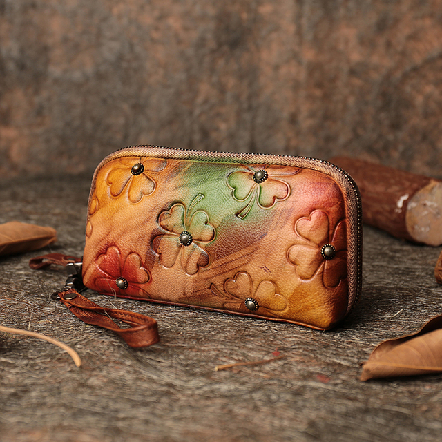 18746efc2219 US $49.68 46% OFF|2019 Handmade Women Wristlet Wallets Genuine Leather Coin  Purse Embossed Floral Long Wallet Card Holder Clutch Phone Bags-in Wallets  ...