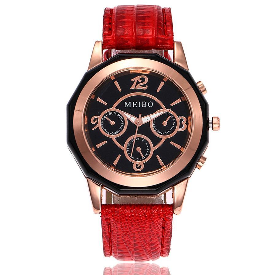 MEIBO nueva marca de moda reloj de pulsera de lujo correa de cuero - Relojes para mujeres