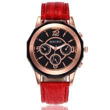 MEIBO Brand New Fashion Women Armbandsur Luxury Läder Rem Quartz Watch Relogio Feminino Presentklocka A30