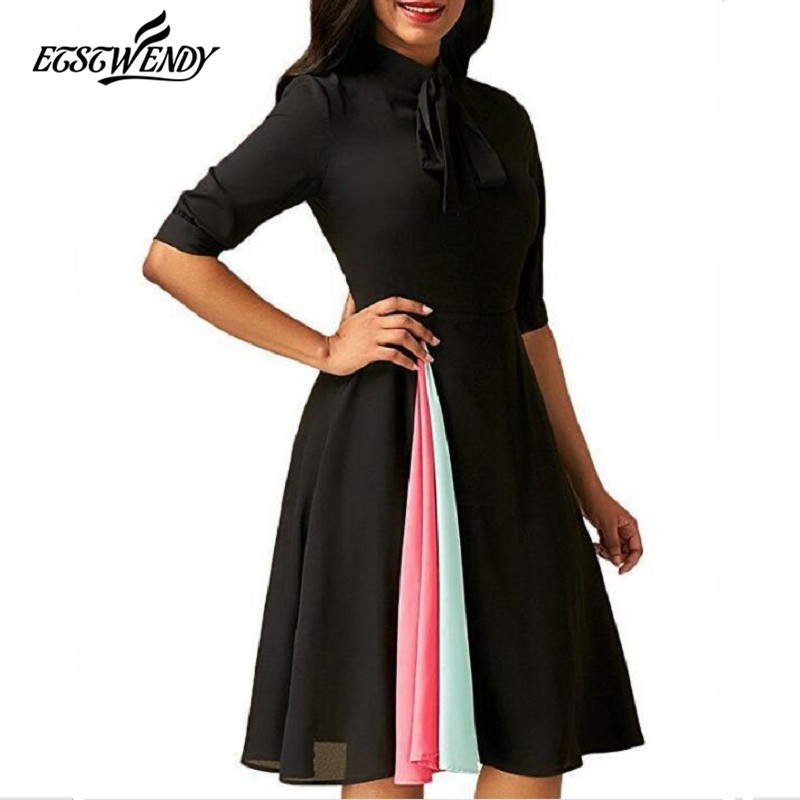 2018 New Autumn Fashion Patchwork Pleated Dress Women Elegant Party Butterfly Neck Vinage Dress Women Clothes Vestidos de Fiesta ...