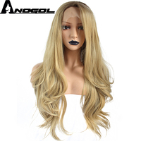 Anogol Dark Brown Ombre Blonde High Temperature Fiber 360 Frontal Long Body Wave Full Hair Synthetic Lace Front Wigs For Women