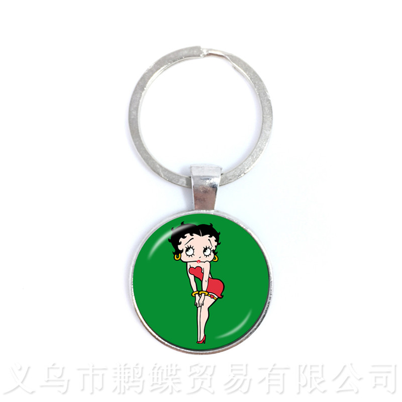 Betty Boop And Bimbo Series Pattern 25mm Round Glass Cabochon Handmade Key Chains Gift For Friends Keyring joelheira magnética alívio