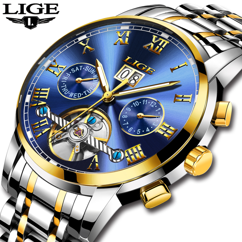 LIGE Top Brand Luxury Mens Sports Watches Men Waterproof Mechanical Watch Man Full Steel Military Automatic Wrist watch RelojesLIGE Top Brand Luxury Mens Sports Watches Men Waterproof Mechanical Watch Man Full Steel Military Automatic Wrist watch Relojes