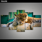 5 Panel set Printed Leopard Animal Modular Picture Landscape Canvas Painting for Wall Art Home Decor Living Room Decoration