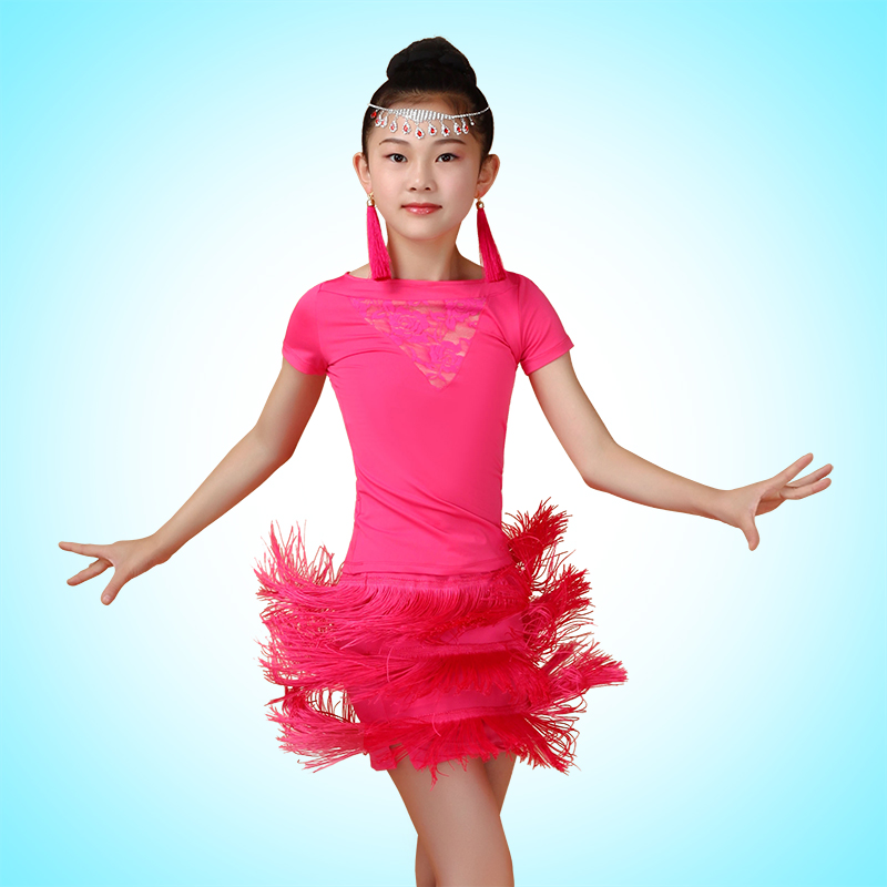Latin Lace Dance Clothing for Girls Latin Tassels Dance Costumes Latin Fringed Dress Salsa Latin Ballroom