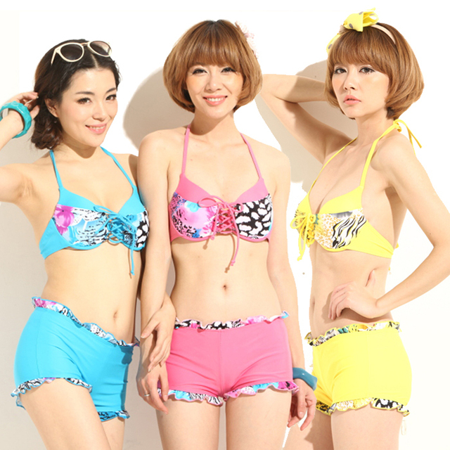 Women's sexy hot springs bikini split skirt swimsuit bikini size push up swimwear