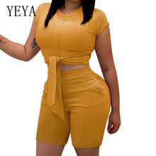 YEYA XXXL 2 Piece Set Casual Fitness Summer Clothes for Women Crop Top and Biker Shorts Sweat Suit Sexy Two Piece Matching Sets angel print sexy summer two piece matching sets women halter backless crop top tie up shorts beach 2 piece women clothes 2019