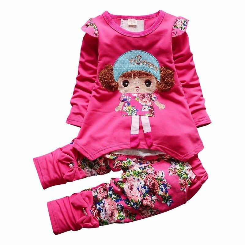 цена на 2018 New Spring Autumn Kids Sets Cartoon Girl Full Sleeve T-shirt Pants 2 Pcs/Sets Pure Cotton Suits Children Clothes Tracksuit