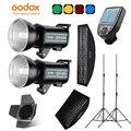 Godox QS400II 2x400Ws Фотостудия вспышка светильник ing XPRO триггер  софтбокс  280 см светильник стойка  дверь сарая  вспышка встроенный ресивер