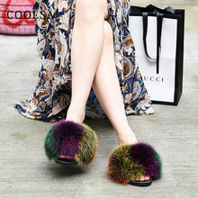 Fashion Women Fur Slippers Genuine Fox Fur Slides Soft Comfortable Flat Indoor Slippers Fluffy Fur Sandal Woman Luxury Fur Shoes(China)