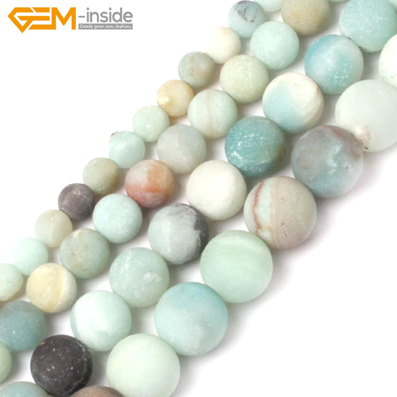 Gem-inside 4-14mm Natural Stone Beads Frost Matte Amazonite Beads For Jewelry Making Beads 15inch DIY Beads Bracelet For Women 8mm 1 set round beads natural stone beads including buddha skull beads elastic string kit beads for jewelry making bracelet diy