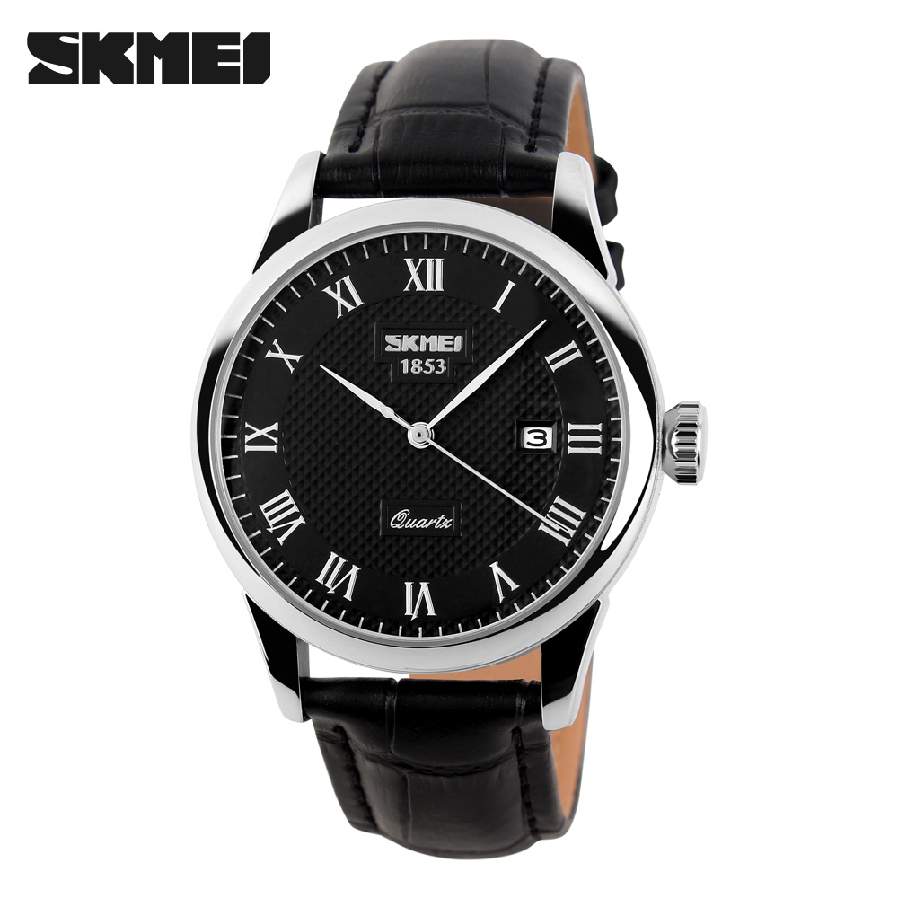 SKMEI Men Sports Luxury Genuine Calf Lady Leather Watches Business And Casual Quartz Wristwatch With Auto