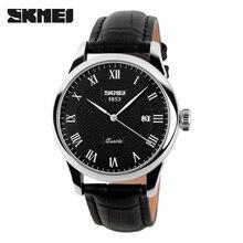 Skmei hombres deportes lujo genuino del becerro de cuero de dama relojes de negocios y casual cuarzo reloj de pulsera con auto fecha nuevo 2017 9058