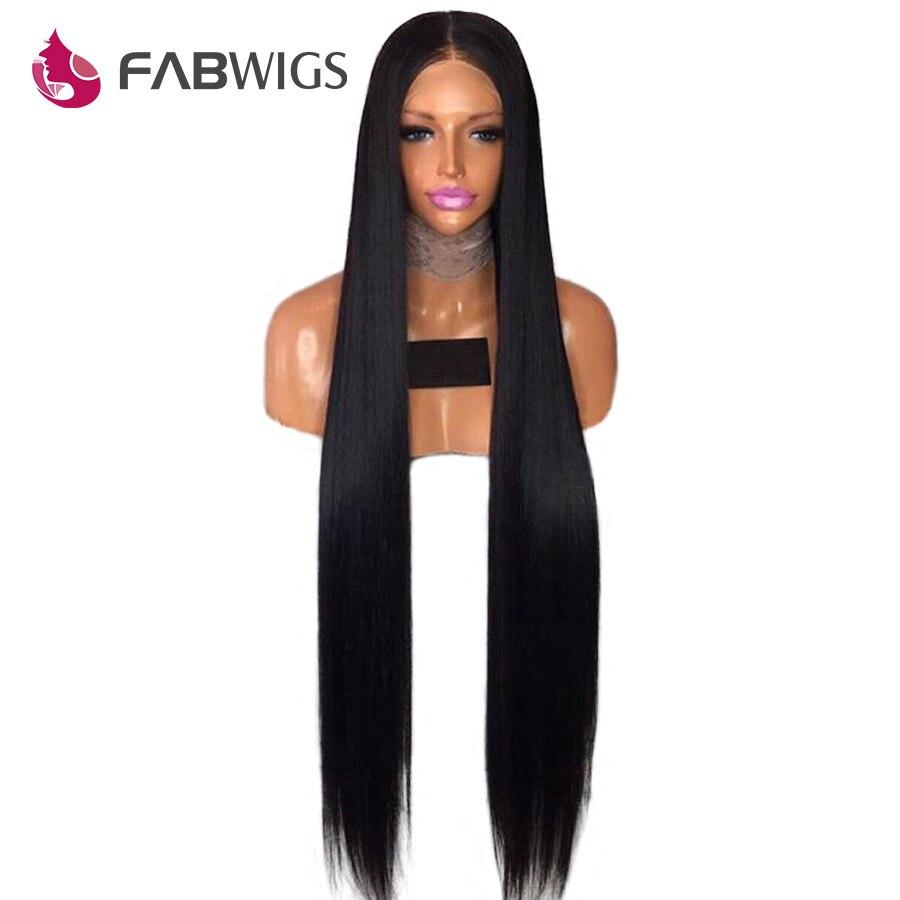 Fabwigs 150% Densité Full Lace Perruques de Cheveux Humains Pré Pincées Brésilien Remy de Cheveux Humains Perruques Soyeux Dentelle Droite Perruque