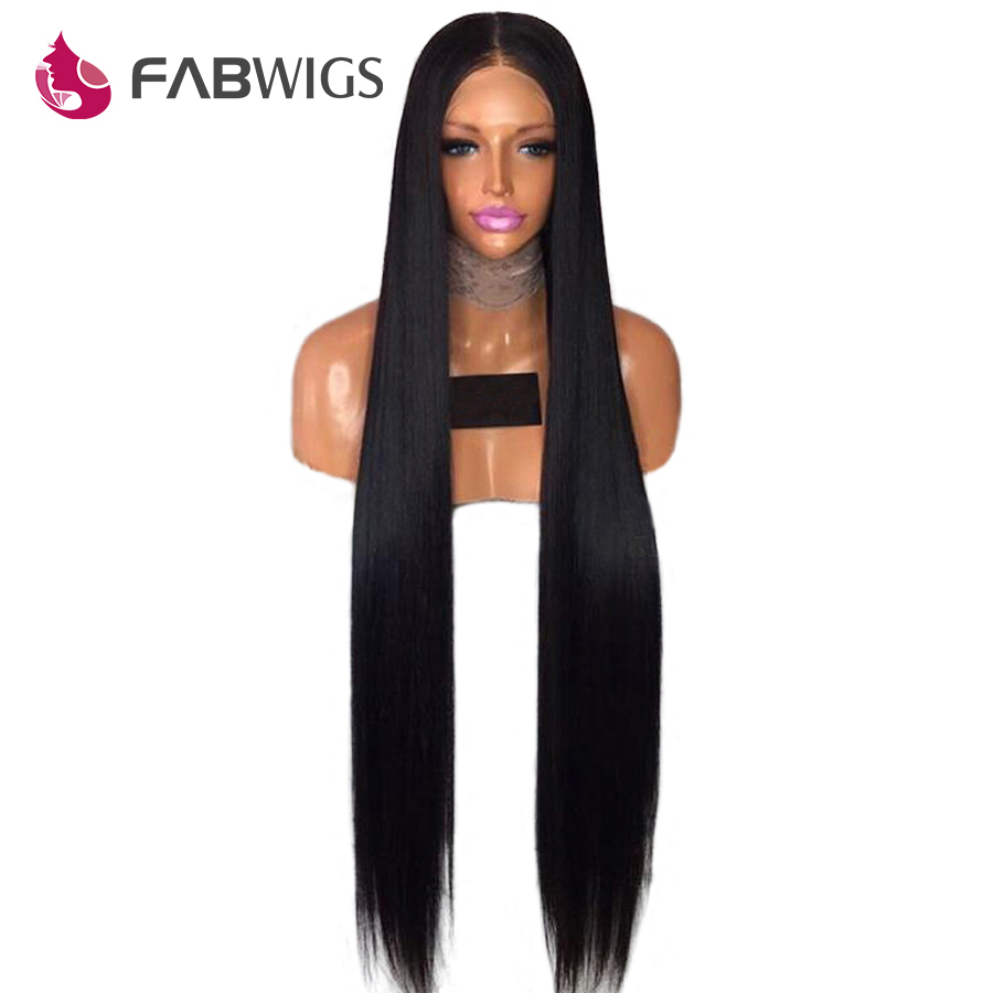 Fabwigs 150% Density Full Lace Human Hair Wigs Pre Plucked Brazilian Remy Human Hair Wigs Silky Straight Lace Wig