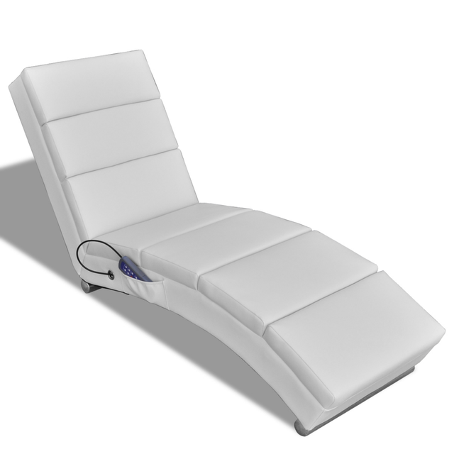 IKayaa Functional Electric Massage Chair White Armchair Chaise Lounge For  Living Room ES Stock