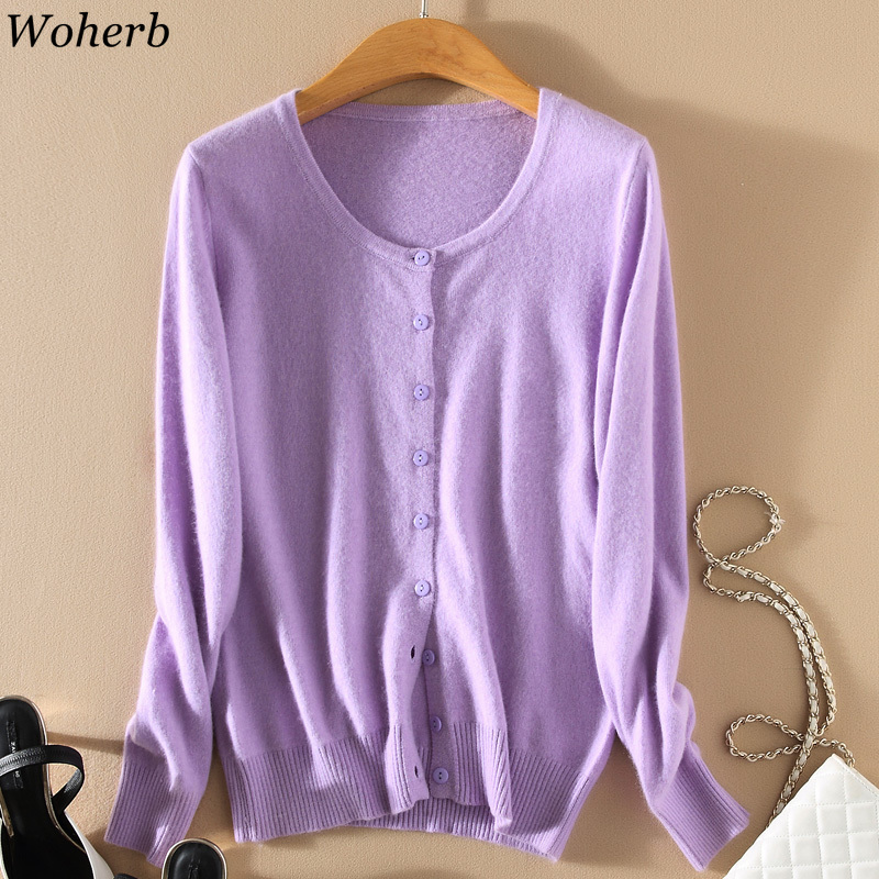 Woherb Plus Size Cashmere Cardigan Women 2020 Autumn Korean Knit Sweater Casual Solid Cardigans Coat Knitwear Casaco Feminino