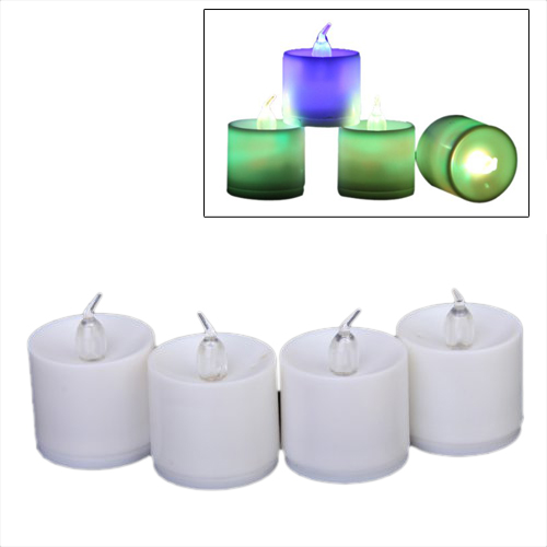 4Pcs Flameless Flickering LED Candle Light Tealight Decorative Light--Battery Included (Colorful)