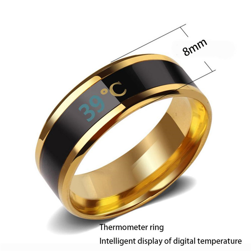 Timethinker Fashion Smart Ring Body Temperature Sensing Digital Display LED Intelligent Bracelet Finger Decorative Accessories