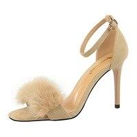 Brand Fur Feather summer sandals women shoes sandales femme 2018 nouveau gladiator Sexy women's shoes high heels rabbit Wedding