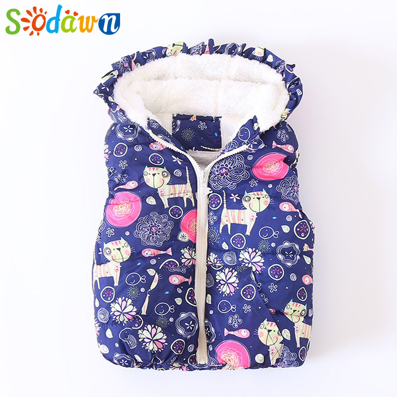 Sodawn 2017 Children Clothing Vest Autumn New Cartoon Print Lace Hooded Velvet Thicken Girl Clohtes Cute Fashion Baby Girls Vest