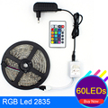 Waterproof RGB LED Strip Light 2835 SMD Flexible Light Ribbon Lamp 60LED/M 5M DC 12V Power Supply And 2A IR Remote Controller