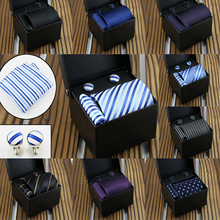 27colors Fashion Mans Striped Tie 3 Piece Set Gift Box Formal Dress  Luxury Christmas Gifts for Mengifts Men