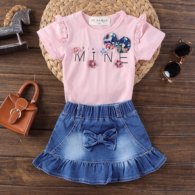 66be8bf0f Baby Girl Clothes 1 2 3 4 Age Girls Bow Flower Clothing Sets ...