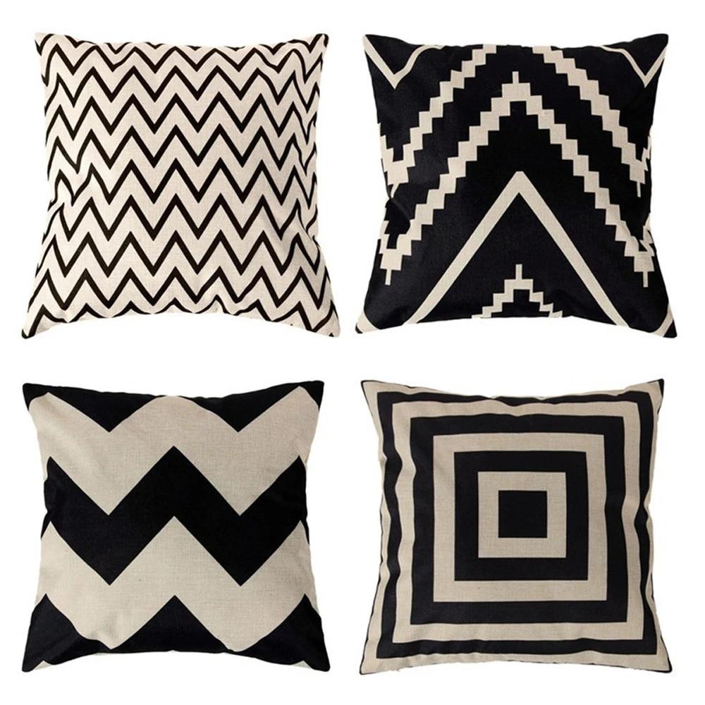 minimalistic black and white waves decorative pillowcases geometric pillow case simple pillowcase kussensloop almohada