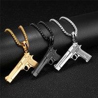 LINSOIR 2017 Punk Hip Hop Gun Pendant Necklace For Men Stainless Steel Long Chain Gold Black