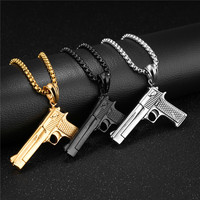 LINSOIR 2017 Punk Hip Hop Gun Pendant Necklace For Men Stainless Steel Long Chain Gold Black
