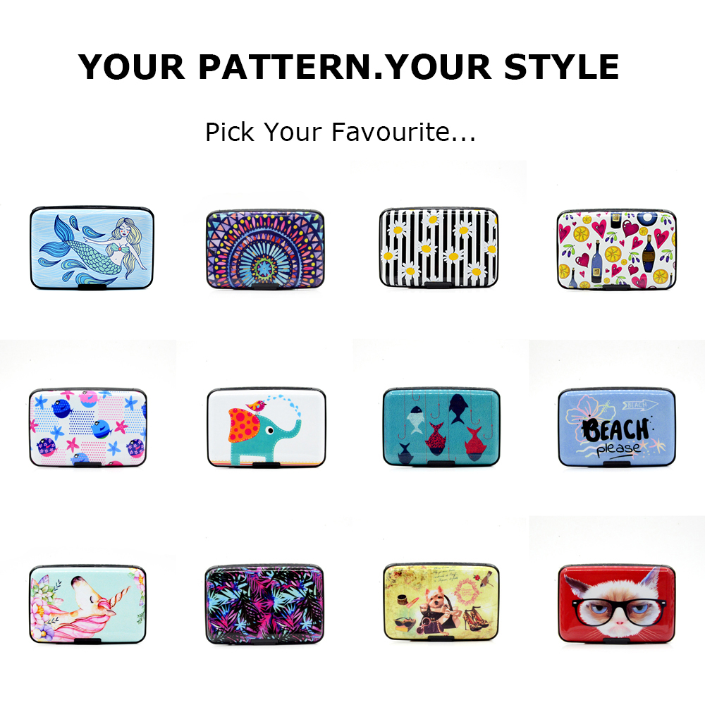BONAMIE Aluminum Shell Credit Card Holder For Men Women Metal RFID Wallet Business ID Card Case Holder Flamingo Pattern Card Box in Card ID Holders from Luggage Bags
