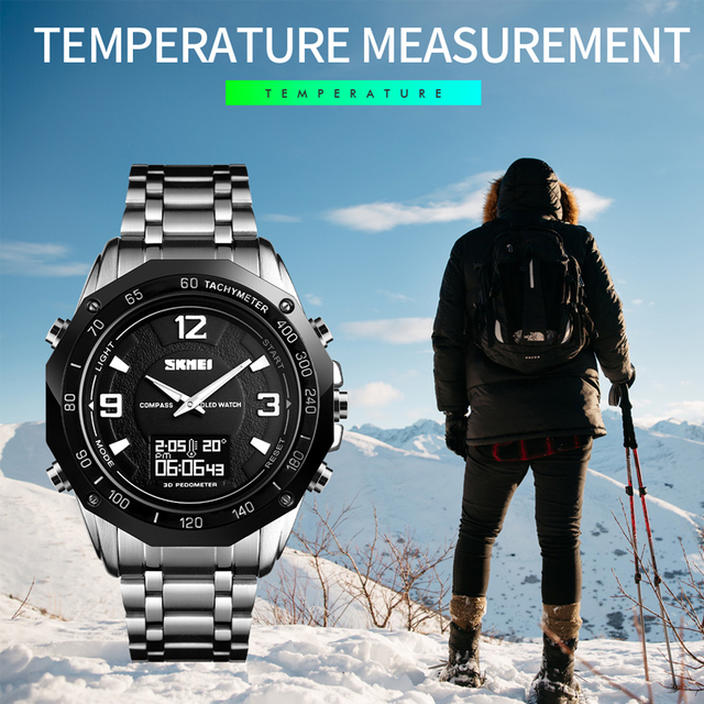 Luxury Watch Men Thermometer Compass Digital Clock Calorie Pedometer Sport Mans Wristwatch Fashion Military Mens Watches SKMEI