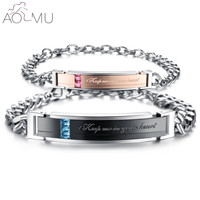 AOMU 2017 Keep Me In Your Heart Couple Bracelets Crystal Stainless Steel Bracelets For Lovers Women