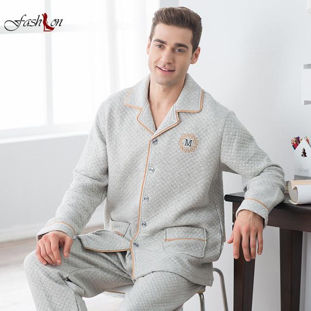 Plus de Gran Tamaño L-2XL Caliente Otoño Invierno Pijamas de Algodón para Hombres Vuelta-abajo de Manga Larga Traje de Capa de Aire Casa ropa de dormir