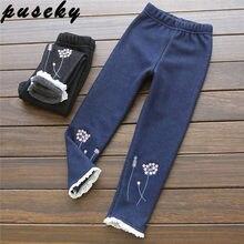 aa2496d82e9e6eb Puseky/осенне-зимние джинсы с вышивкой для девочек, детские кашемировые  штаны, Детские теплые леггинсы с эластичной резинкой на .