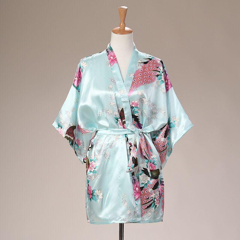 Plus Size Gray Ladies Summer Kimono Mini Robe Bath Gown Womens Bride Bridesmaid Wedding Dress Yukata Nightgown Pijama Mujer Md06